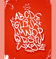 graffiti font alphabet on red vector image vector image