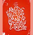 graffiti font alphabet on red vector image