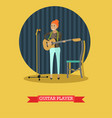 guitar player in flat style vector image vector image