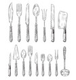 hand drawn cutlery set vintage fork food spoon vector image vector image