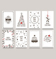 hand drawn winter holidays cards merry christmas vector image