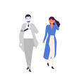 human and android walking together flat vector image vector image
