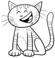kitten or cat cartoon character coloring book page vector image vector image