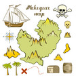 map of island - game for kids with ship island vector image vector image