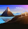 mountain matterhorn evening panoramic view of vector image