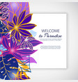 paradise neon violet flowers and leaves vector image vector image