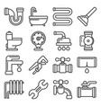 plumbing icons set on white background line style vector image