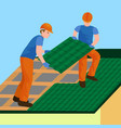 roof construction worker repair home build vector image vector image