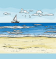 seascape with sailboat on horizont and sand beach vector image vector image