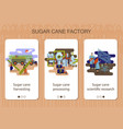 set mobile app pages sugar cane factory vector image vector image