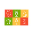 set of fruits and vegetables in linear vector image