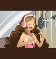singer in recording studio vector image vector image