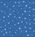 snowflakes seamless pattern christmas blue vector image