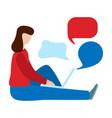 social networks communication concept woman sit vector image vector image