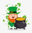 st patrick elf with cauldron and gold coins vector image