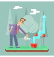 Successful Businessman Watering Growth Infographic vector image vector image
