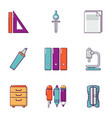 technical drawing icons set flat style vector image vector image