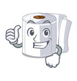 thumbs up character toilet paper rolled on wall vector image vector image