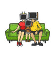 tv head family sketch engraving vector image