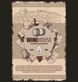vintage winery poster vector image vector image