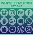 white flat icon set one image vector image vector image