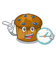 with clock mufin blueberry character cartoon vector image