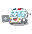 with laptop ambulance character cartoon style vector image