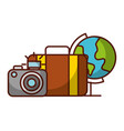 world suitcase and camera travel vacations vector image