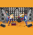 rock band on the stage musical group cartoon vector image