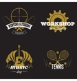 Set of retro labels gold vintage design vector image
