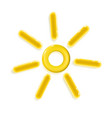 3d yellow glossy realistic plastic sun icon toy vector image vector image