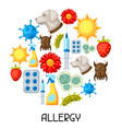 allergy background with allergens and symbols vector image vector image