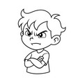 angry boy expression bw vector image