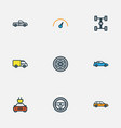 automobile colorful outline icons set collection vector image vector image