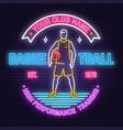 basketball club neon design concept for vector image