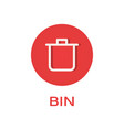 bin round flat icon remove and trash symbol vector image vector image