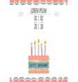 birthday greeting cards design with handdrown cake vector image vector image