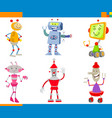 cartoon robots and droids characters set vector image vector image