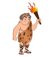 caveman holding a torch vector image