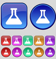 Conical Flask icon sign A set of twelve vintage vector image