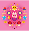 cute cartoon mushrooms flowers hearts and birds vector image vector image