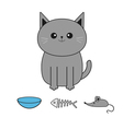 Cute gray cartoon cat Mustache whisker Bowl fish vector image vector image