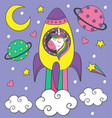 cute little unicorn in the rocket vector image vector image