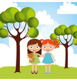 cute two young girl embraced in the park vector image