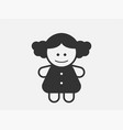 doll toy icon on white background line style vector image