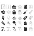 e-commerce purchase and sale blackoutline icons vector image