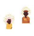 flat old african elderly woman man thinking vector image vector image
