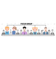 flat people group inside magnifier diagram vector image vector image