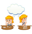 Girl having positive and negative thoughts vector image vector image
