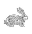 hand drawing coloring page book rabbit vector image vector image